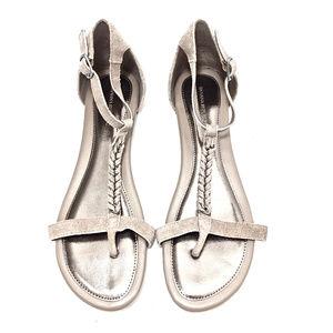 Banana Republic Light Gray Suede T-Strap Sandals
